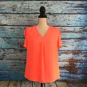 Mine Women's Neon Pink Loose Blouse V-Neck Size L